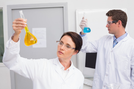 beakers: Scientists looking attentively at beakers in laboratory