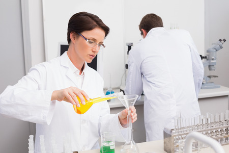 attentively: Scientists working attentively with test tube and computer in laboratory