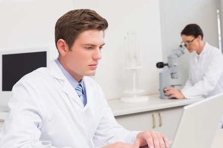 attentively: Scientist working attentively with laptop in laboratory