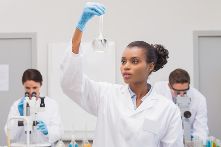precipitate: Scientist looking at white precipitate while colleagues working in the laboratory