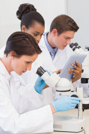 Scientists using microscope and tablet pc in the laboratory photo