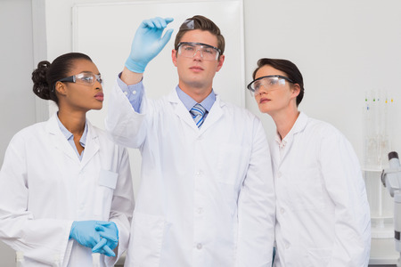 experimentation: Scientists looking at experimentation in the laboratory