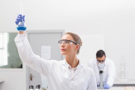 precipitate: Scientist examining blue precipitate in baker in the laboratory