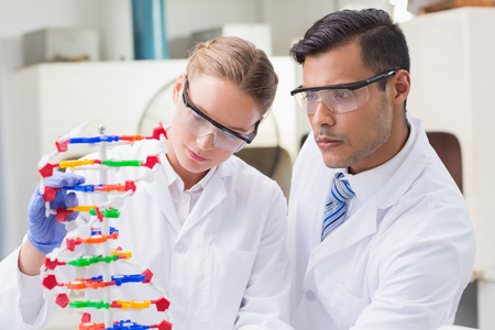concentrated: Concentrated scientists working together with dna helix in laboratory Stock Photo