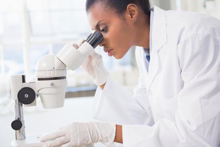 bata de laboratorio: Científico que mira en el microscopio en laboratorio Foto de archivo