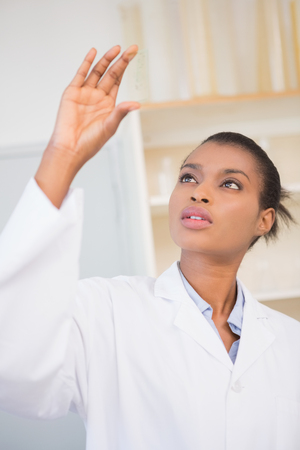 biochemist: Scientist looking at sample in laboratory Stock Photo