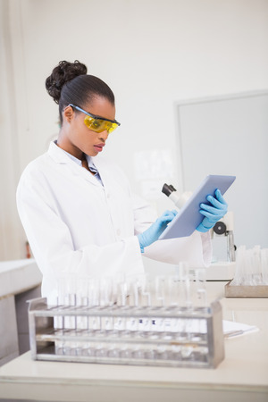 concentrated: Concentrated scientist working with tablet in laboratory