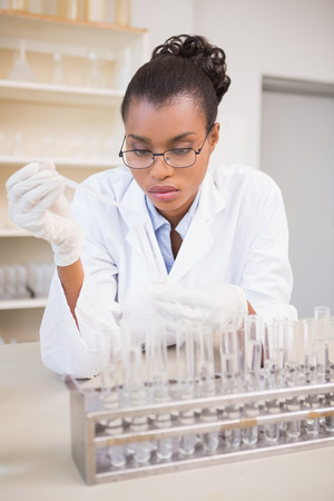 attentively: Concentrated scientist working attentively with pipette in laboratory