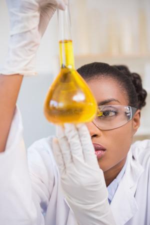 Scientist examining petri dish with orange fluid inside in laboratory