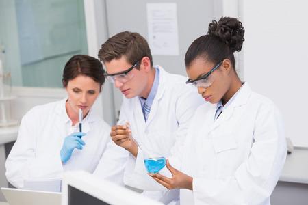 investigador cientifico: Cient�ficos concentrados que trabajan juntos en el laboratorio Foto de archivo