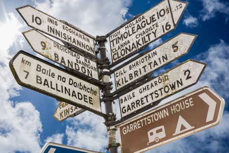 irish culture: Signpost for places in cork Ireland against cloudy blue sky