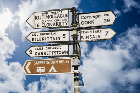 ireland: Signpost for places in cork Ireland against cloudy blue sky
