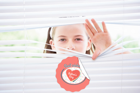 nosey: mothers day greeting against little girl peeking through blinds