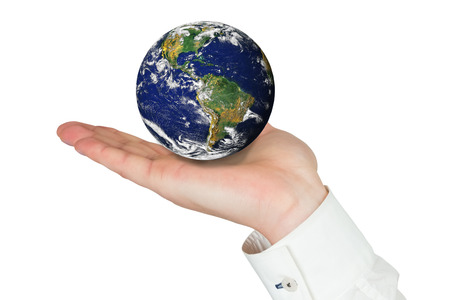 presenting: Hand presenting against planet earth Stock Photo