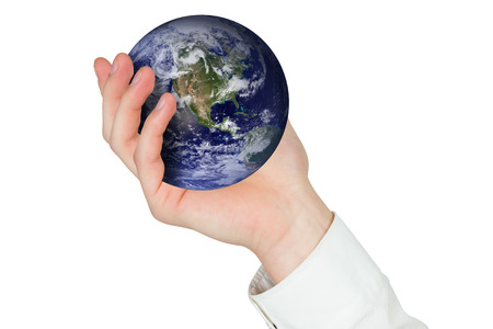 presenting: Hand presenting against earth