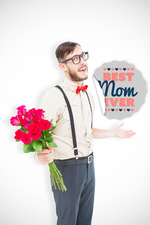 ever: Geeky hipster offering bunch of roses against best mom ever
