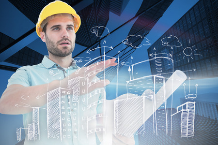 engineer's: Architect with blueprint gesturing on white background against skyscraper