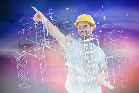 engineer's: Male architect with blueprints pointing away against cloudy sky over city