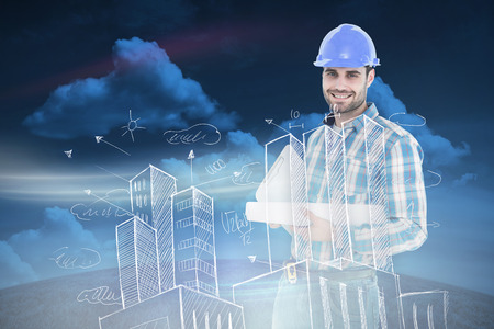engineer's: Confident architect holding bluprint and clipboard against green field under blue sky