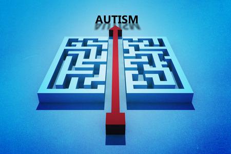 cutting through: autism against red arrow cutting through maze