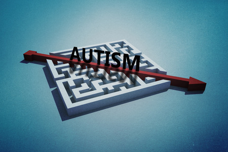 cutting through: autism against red arrow cutting through puzzle