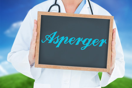 asperger: The word asperger and doctor showing chalkboard against green hill under blue sky