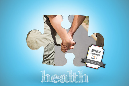 hitch: The word health and hitch hiking couple standing holding hands on the road against blue background with vignette Stock Photo
