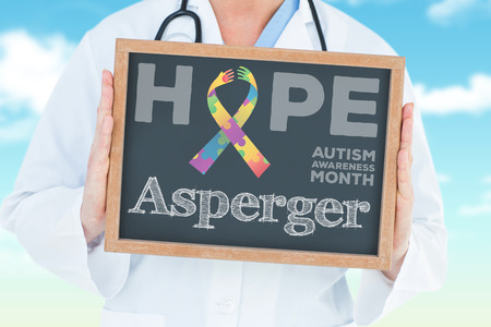 asperger: The word asperger and doctor showing chalkboard against blue sky Stock Photo