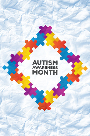 month: Autism awareness month against crumpled white page Stock Photo