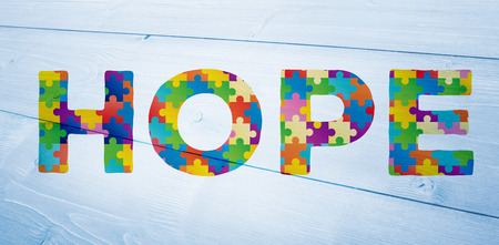 autism: Autism message of hope against bleached wooden planks background