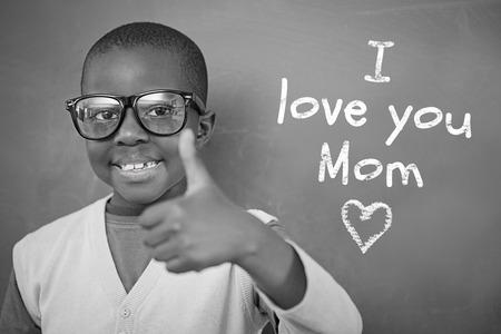 schoolchild: Schoolchild with blackboard against mothers day greeting