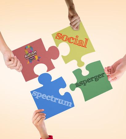 asperger: Autism awareness day against orange vignette