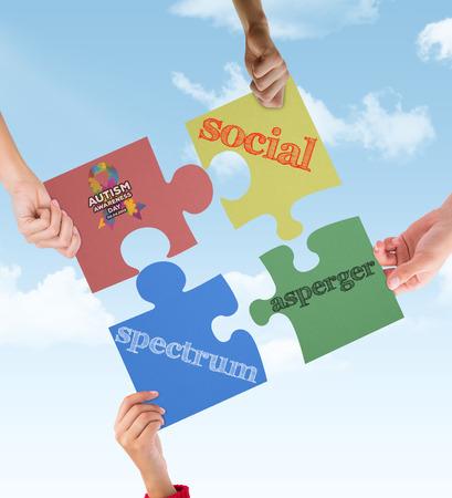 asperger: Autism awareness day against blue sky