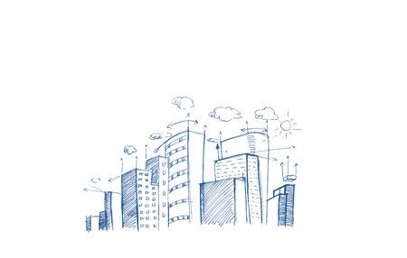City plan hand drawn on white background