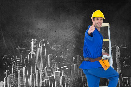 step ladder: Repairman gesturing thumbs up while climbing step ladder against hand drawn city plan