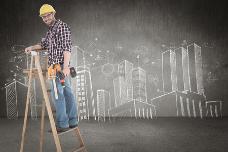 power drill: Repairman climbing ladder while holding power drill against hand drawn city plan