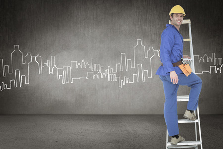 step ladder: Portrait of repairman climbing step ladder against hand drawn city plan