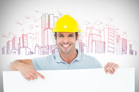 bill board: Architect with bill board over white background against grey Stock Photo