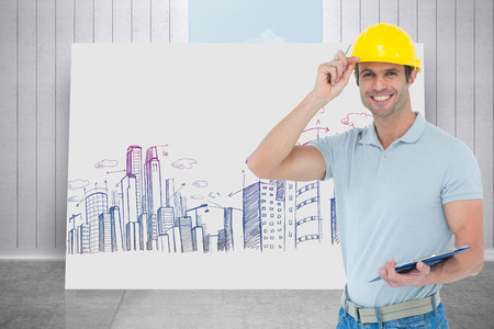 clip board: Architect wearing hard hat while holding clip board against composite image of white card