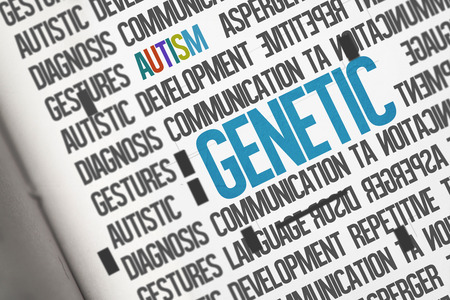 literate: The word genetic against open book Stock Photo