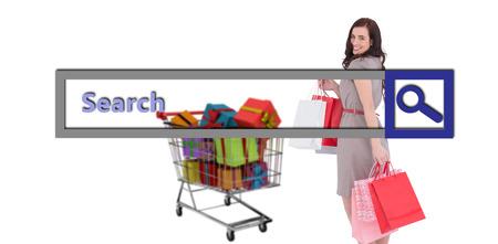 capelli castani: Elegante capelli castani posa con borse della spesa contro il motore di ricerca