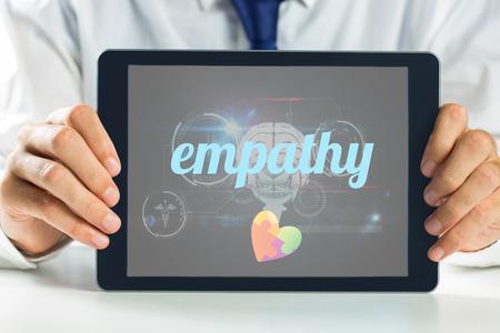 empatia: La empat�a palabra y la conciencia del autismo del coraz�n contra la interfaz de la biolog�a m�dica en negro