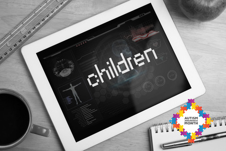 The word children and autism awareness month against medical biology interface in black photo