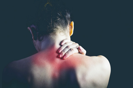 naked woman: Woman with muscle injury Stock Photo