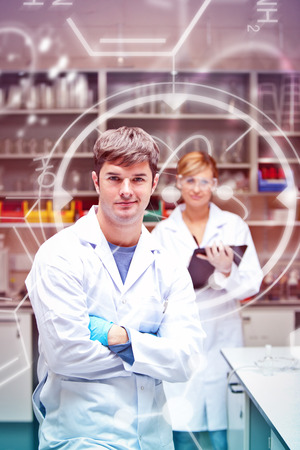 scientist man: Science and medical graphic against two serious scientists looking at the camera standing Stock Photo