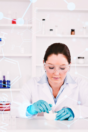 experimentation: Science formula against young scientist preparing an experimentation wearing gloves Stock Photo