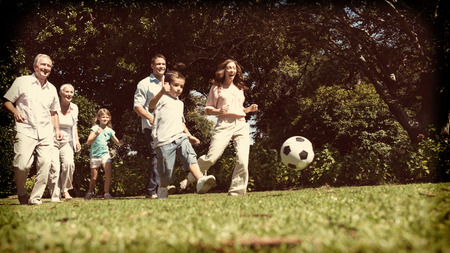 multi generation: Cheerful multi generation family playing football in the park