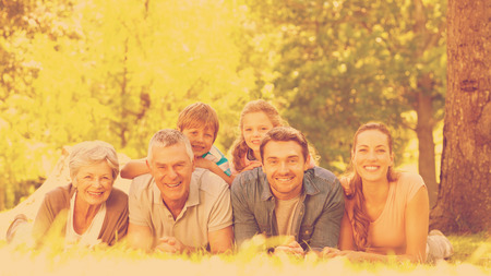extended family: Portrait of an extended family lying on grass in the park Stock Photo