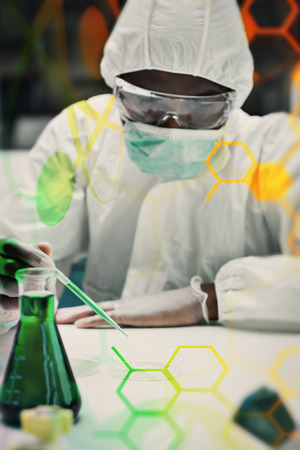 protective suit: Woman working in protective suit against science and medical graphic Stock Photo