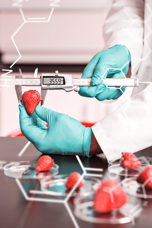 food science: Science and medical graphic against food scientist measuring a strawberry Stock Photo